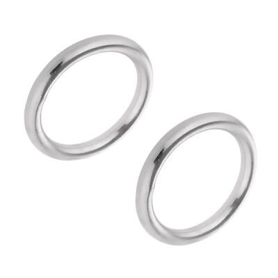 2pcs Polished Welded 304 Stainless Steel O-ring 25/ 35/ 45/ 60mm Round Ring