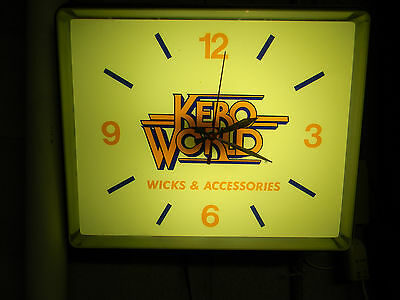 "SUPER NICE *RARE* VINTAGE OIL ""KERO WORLD"" SIGN LIGHTED CLOCK Great Working Cond"
