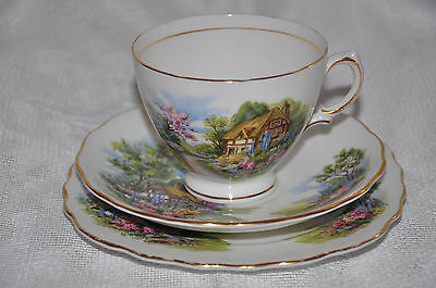 Pretty Royal Vale Cup Saucer & Plate Trio with English Thatched Cottage Garden