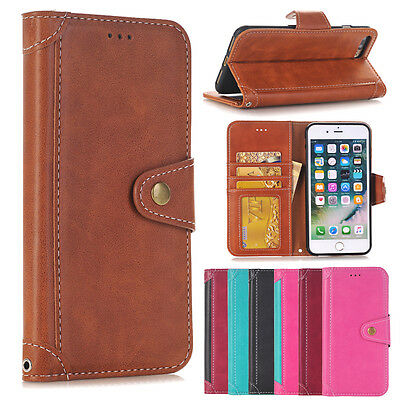 Luxury Card Slot Cover PU Leather Flip Holder Case Wallet For iPhone & Samsung