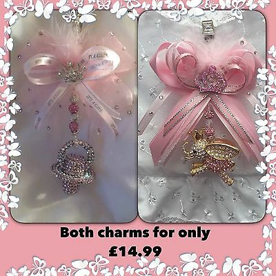 2 Romany bling Crystal Dummy & Elephant Pram Charm Baby Shower Gift Christening