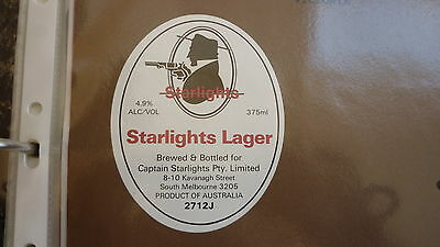 Old Australian Beer Label, Captain Starlight Brewery Lager