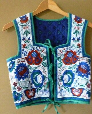 "Vintage Clothkits Quilted Waistcoat - Size 34"" Chest 12 Uk Reversible"