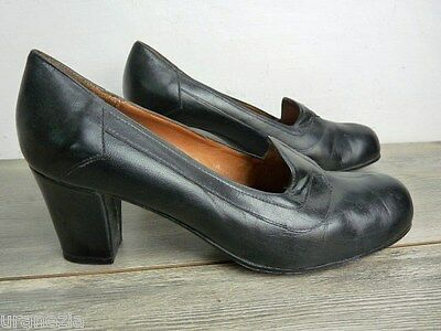 Leather Court Shoes Black End Round Made in Italy T 39 VERY GOOD CONDITION