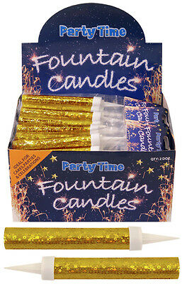 Pack of 2 Silver & Gold Fountain Candles Birthday Party Celebrate