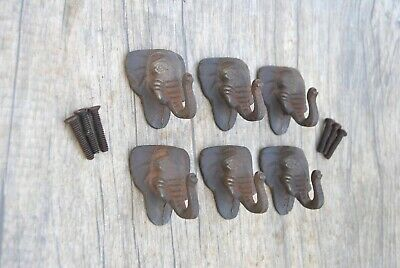 Vintage Elephant Cast Iron cabinet drawer door Knobs handles pull Rustic 6pcs