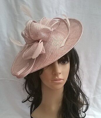 LATTE PINK SPARKLE SINAMAY & FEATHER FASCINATOR HAT.Shaped saucer disc,Wedding.