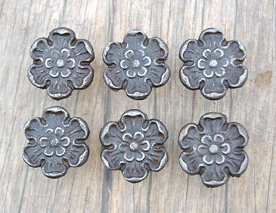 Vintage Floral Cast Iron cabinet drawer door Knobs handles pull Rustic 6pcs