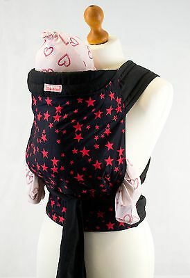 Palm & Pond Black & Red Mei Tai Baby Sling Carrier 100% Cotton -  Stars Design