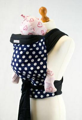 Palm & Pond Cotton Mei Tai Baby Sling Reversible Carrier - Blue with White Spots