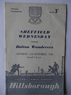 1956-57   Sheffield Wednesday  v  Bolton Wanderers   Division 1
