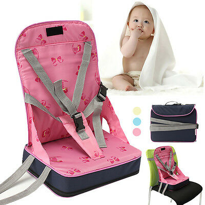 Foldable Baby Dining High Chair Feeding Booster Seat With Toddler Harness Safety