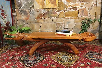 Vintage Carved Crocodile Coffee Table~Papua New Guinea Bench ~Large~Tribal~Tiki