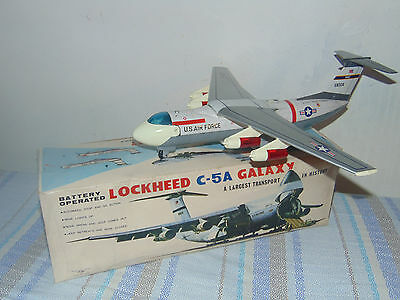 Lockheed C-5A Galaxy Airplane Nomura Battery Operated Japan  Tin Toy RARE