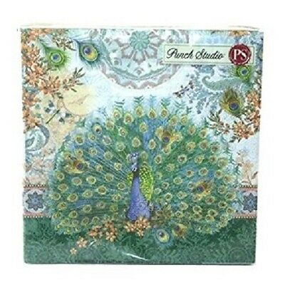 NWT 2 packs Punch Studio 53664 Royal Peacock 20-Ct Luncheon Napkins NEW