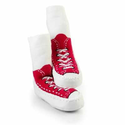 Mocc Ons Toddler Slipper Socks Baby Slippers Red Sneakers 3 Sizes 6-24 Months