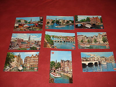 VINTAGE NETHERLANDS: AMSTERDAM canals X9 colour crested