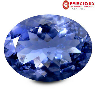 4.73 ct PGTL Certified AAA Elegant Oval Cut (14 x 10 mm) Un-Heated Blue Iolite