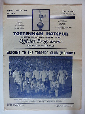1959 Tottenham Hotspur Spurs v Torpedo Club Moscow 16-11-59 Friendly