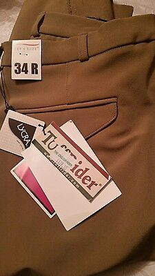 tuff rider mens breeches 34r nwt tan