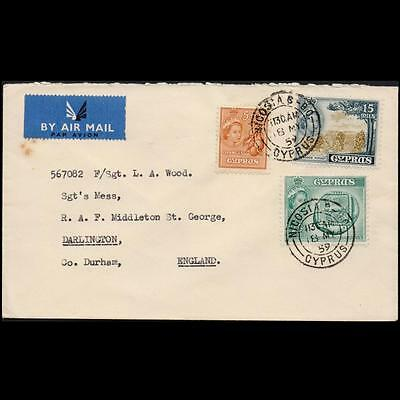 Cyprus 1959 Mailed Cover To England With 3 Qeii Stamps