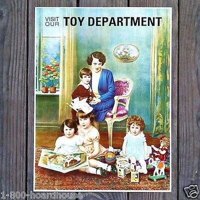 Vintage Original TOY STORE DEPARTMENT HOLIDAY Sign 1920s Unused Old Stock