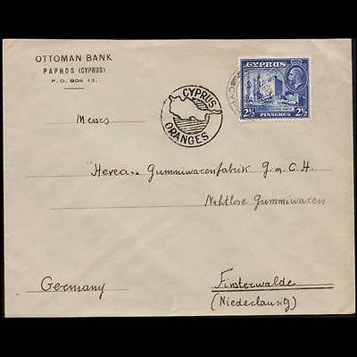Cyprus 1938 Mailed Cover To Germany With Kgv Stamp On & Slogan:cyprus Oranges