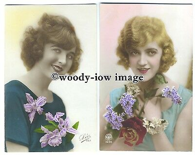 su2890 - Two Portraits of Beautiful Women c1930s, holding Flowers - 2 postcards