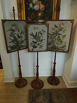 Hand Painted Set Of Three Victorian Oak Pole Fire Screens C.1850