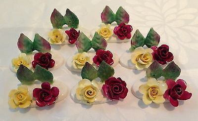 CROWN STAFFORDSHIRE BOXED YELLOW BURGUNDY ROSE PLACE CARD HOLDERS original cards