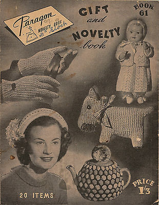 Vintage Knitting Book Paragon #61 Novelty DOLLS. GLOVES. HAT. TEA COSY Retro