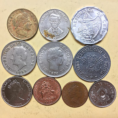 10 Different South American and Pacific Island world coins