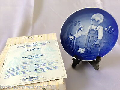 🌟 Bing & Grondahl Collector Plate Litle Gardeners 1987 Childrens Day +Coa+Box