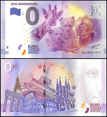Zero (0) Euro Europe, 2017-1, UNC, Giraffe, Cub & Monkey, Zoo Magdeburg Germany