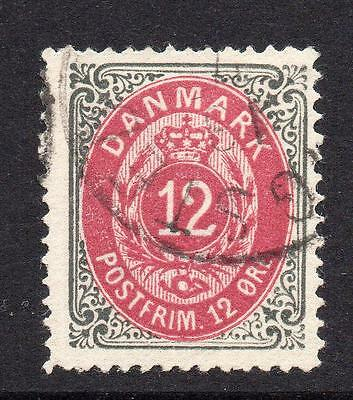Denmark 12 Ore Stamp c1875-79 Used