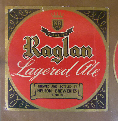 Vintage New Zealand Beer Label - Nelson Breweries, Raglan Lager Ale #2