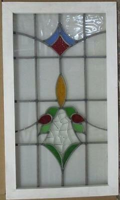 "LARGE OLD ENGLISH LEADED STAINED GLASS WINDOW Pretty Floral Abstract 21"" x 36"""