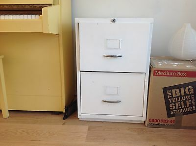 white two drawer filing cabinet