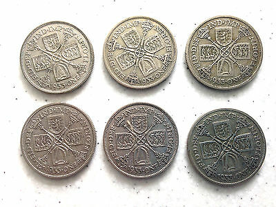 6 Coins George V 50% Silver Florins All 1933