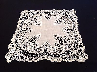Rare Antique Lace Wedding Handkerchief