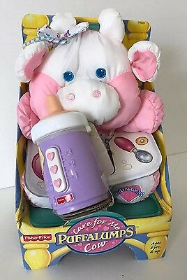 1999 Fisher Price Care For Me Puffalumps Cow Baby In Box Bottle Pink Purple