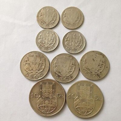 9 x Silver Coins from Portugal