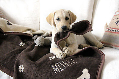 Personalised Dog Blankets with Pet's Name, Luxurious Reversible with Paw Print