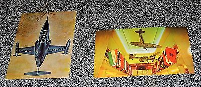2 VTG Post Cards USA Fighter Planes Defenders Air Force F104 Starfighter WWII Am