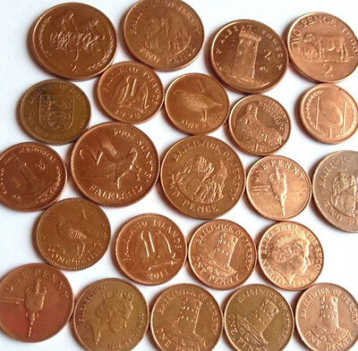 Rare Guernsey, Jersey , Eire, St Helena, 1p and 2p coins from 1971-2014