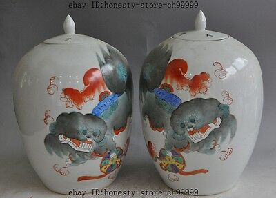 chinese Porcelain foo dog lion beast ball statue Tanks Crock Jar Bottle Pot pair