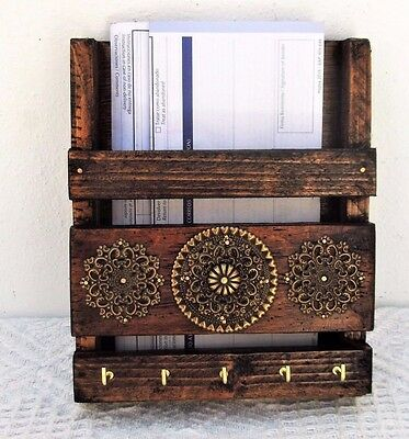 Wooden Mail Holder and Key Rack, Entryway  Organizer, Caddy, Moroccan Decor,Post