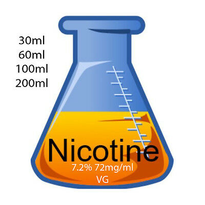 72mg 7.2% Unflavoured Nicotine Base USP Grade In Vegetable Glycerine