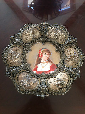 Antique French Porcelain Bronze Silver Plated Hand Painted Cherub Plaque Plate