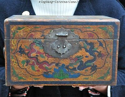 Old Chinese lacquerware Wood 6 Dragon Qing Qianlong Marked Jewelry box container